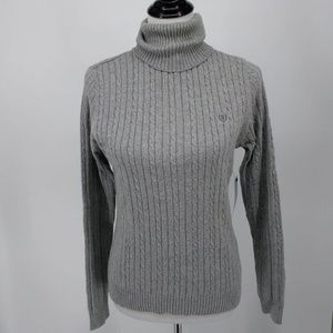 New Izod Medium Turtleneck Sweater Cable Knit Gray